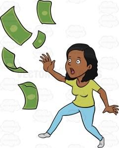 Worried dark haired woman chasing her money